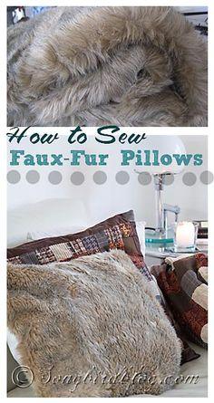 How to sew faux fur pillows. www.songbirdblog.com