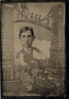tuesday-johnson:    ca. 1883, [Cartoon of a gentleman Jumping Off the Brooklyn Bridge]  via the International Center of Photography