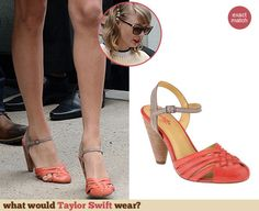 Taylor Swift's two tone sandals. Outfit Details: http://wwtaylorw.com/3097