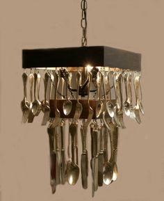 upcycled silverware chandelier