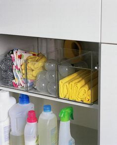 clean pantry, i love that you can see what is in each storage bin!