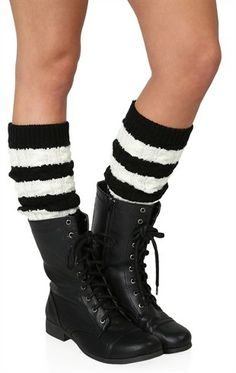 Striped Cable Knit Leg Warmer