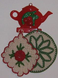 Vintage Cherries Hanger and Potholders