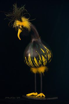 "*Gourd Art - ""Bozz"" by Cheryl Ehlers..adorable!"