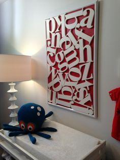 What a fun alphabet wall art from @homeworksetc! #kidsroom #walldecor