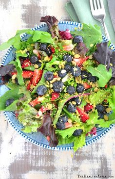 Blueberry Salad with Coconut Cilantro Dressing  | TheHealthyApple.com #summer #glutenfree #dairyfree #vegan #vegetarian #healthy