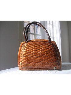 60s french straw handbag basket by lesclodettes on Etsy