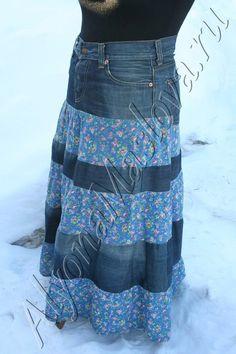 Repurposed jeans into long skirt tutorial.