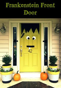 16 Easy But Awesome Homemade Halloween Decorations. You could use a green table cloth from the dollar store, along with the cheap materials they used to make the face and you'd have a very cute and festive Halloween door!