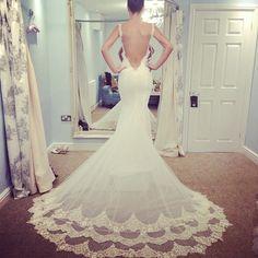 wedding dressses, dream dress, lace wedding dresses, backless dresses, weddings, the dress, train, stunning dresses, haute couture