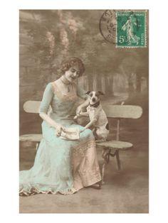 French Woman Talking to Rat Terrier. vintag rat, terrier gicle, french woman, woman talk, gicle print, rats, rat terriers