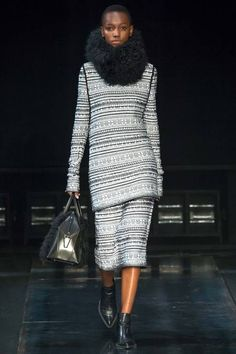 Helmut Lang Fall 2014 RTW. #HelmutLang #Fall2014 #NYFW fur collar/scarf. rich striped seperates. long and lean. sweater dress with matching pencil skirt under. fur handbag.