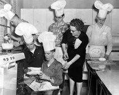 Pawnee City (Nebraska) High School held its annual Operation Switch, where for one week the senior girls and the senior boys in vocational agriculture swapped shop and home classes. In February 1960, making cherry pies are, from left, Bob Eichenberger, Bob Smith, Dick Parks, Dale Mach, teacher Daisymae Eckman and Jim Borcher. THE WORLD-HERALD