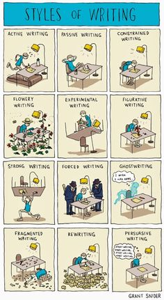 Styles of Writing, A Comic by Grant Snider That Explores the Many Different Kinds of Writing