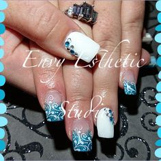 Teal and white gel Nails with Stamped nailart and gems {Envy Esthetic Studio}