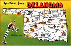 Oklahoma sooner state, oklahoma sooners, hospitalitytravel industri, america, oklahoma map, state map, greet, place, map postcard