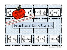 Task Cards can be using in as many ways as you can imagine!   This set focuses on calculating with mixed numerals without common denominators. Students will add, subtract multiply, and divide fractions using this set of 48 task cards.  CCSS 5.NF CCSS 6.NS CCSS 7.NS