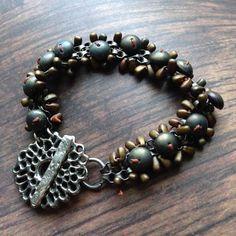 Seed Beaded Chain Bracelet with Pewter by LoreleiEurtoJewelry