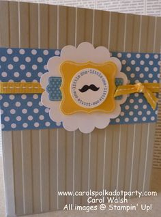 Stampin' Up! A Fitting Occasion Baby Card for baby boy created by Carol Walsh at www.carolspolkado...