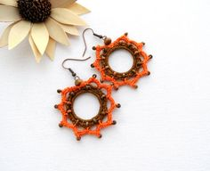 Crochet Earrings  Circle Earrings  Crochet by CraftsbySigita