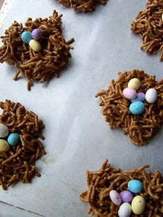 """Easter recipe:  It's a treat.  It's a bird nest you can eat!  (It's also a great source of fiber.)  ***Ingredients:  1.)Fiber One Cereal  2.)A Bag of mini-Marshmallows  3.)A stick of butter  4.)A bag of malted chocolate eggs  ---Proceed as if making rice crispy treats (Melt the butter in a large pot, add marshmallows, stir until melted.) and use Fiber One cereal instead of rice crispies. Mold into """"nests"""", place eggs in center of nests, let cool on a wax paper-lined baking sheet, and enjoy!"""