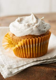 Pumpkin Cupcakes with Cinnamon-Cream Cheese Frosting – What could make a moist pumpkin cupcake better? Cream cheese frosting spiced with cinnamon, of course!