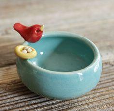 Handmade Pottery Bird Bowl