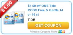 $1.00 off ONE Tide PODS Free & Gentle 14 or 16 ct