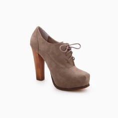 Taupe Lace-up Booties by Bonnibel