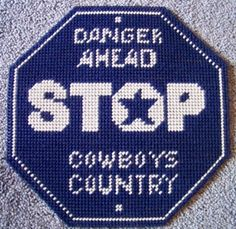 cowboys stop sign plastic canvas pattern 3.00 Canva Pattern, Pattern 300, Plastic Canvas Patterns, Buckey Countri