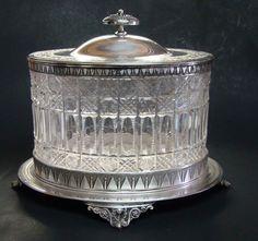 ♣~ Victorian Cut Glass & Silver Plate Biscuit Jar ~♣