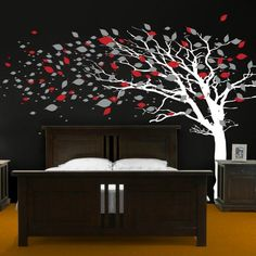 Tall Tree with Leaves Blowing in the Wind Wall Decal Sticker Graphic