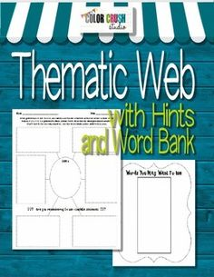 FREE Thematic Web with extra features: writing hints and a word bank on the back