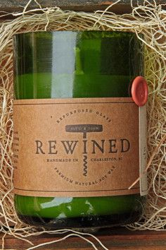 ReWined Candles made from recycled wine bottles and scented to match!