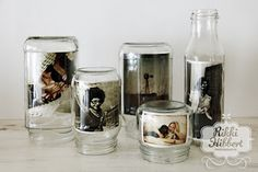 Glass jar photo frames  Instead of buying new frames, how about filling jars with your favourite photos. Full instructions on this lovely idea can be found on Rikki Hibbert's web site. http://www.rikkihibbert.co.za/2010/07/16/recycle-reuse-repurpose-glass-jar-photo-frames/