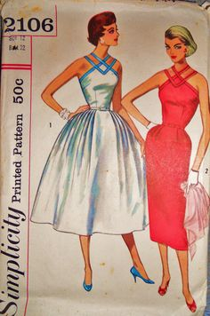 Simplicity+2106+Sexy+Sweet+Sundress+Pattern+-+Authentic+So+Fabulous+50%26%2339%3Bs+Glamour+Sz+12+Uncut+%26+Factory+Folded+Sewing+Supply+Sewing+Patterns