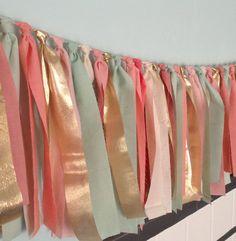 wedding parties, color palettes, idea, gold weddings, color schemes, ribbon, mint, peach, garlands