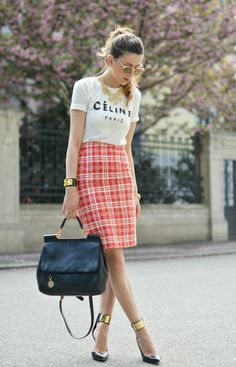 Plaid pencil skirt and tee