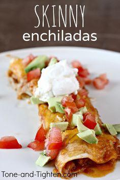 Slow Cooker Skinny Chicken Enchiladas Recipe!  Via Holly @ Happy Food, Healthy Life