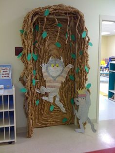"""This classroom scene was a labor of love! Maurice Sendak's """"Where the Wild Things Are"""" transformed our room during book week and the theme stuck with us until the end of the school year. Our children LOVED this book and could repeat it word for word. My asst teacher is a GREAT artist! All photos are hand drawn!! (Ms. Hutson and Ms. Hartfield Gulfport, Ms) We love our Head Start Center!"""