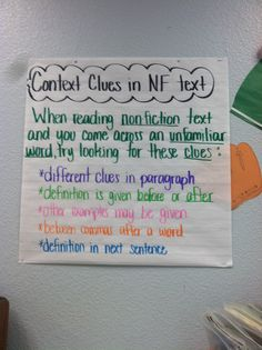 Context clues for nonfiction text