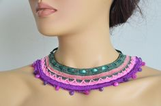 hand knitted natural stone authentic necklace green ribbon pink purple wedding bridesmaids gift jewelry on Etsy, 24,90$
