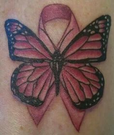 Pink Ribbon Butterfly Tattoo | Butterfly And Pink Ribbon Cancer Tattoo