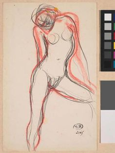 AUGUSTE RODIN (1840 -1917).  FEMALE NUDE WITH LEFT LEG OUTSTRETCHED, Circa 1890, Graphite pencil, brown ink, red pastel, pen.