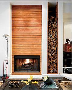 amazing fireplace + wood log storage
