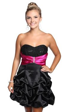 strapless satin pick up homecoming dress ()pink and silver belt