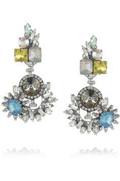 Erickson Beamon|In The Mood For Love gunmetal-plated Swarovski crystal clip earringsModern Vintage Vibe