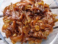I've got a bagillion onions, so onion confit it is! Subbing the raisins for an apple and adding garam masala.