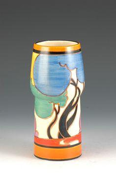 Clarice Cliff 376 Shape Vase - Blue Autumn Pattern - Bizarre/Fantasque