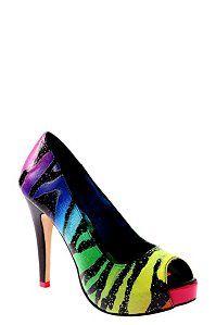 shoes, irons, iron fist, rainbows, heels, ironfist, zebras, platform heel, rainbow zebra
